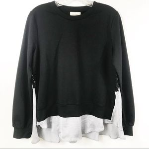 NWOT Melló Day Layered Ruffle & Lace Sweater